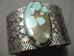Huge Spiderweb Turquoise Navajo Sterling Silver Native American Bracelet