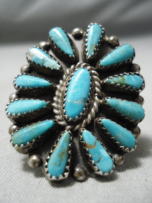 Important Vintage Native American Navajo Turquoise Teardrop Turquoise Sterling Silver Ring Old