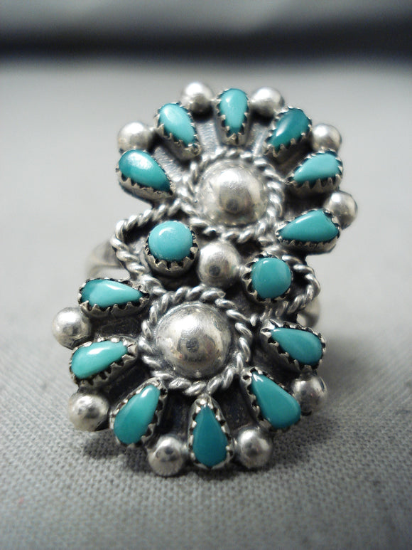 Exquisite Signed Vintage Native American Zuni Blue Gem Turquoise Sterling Silver Ring