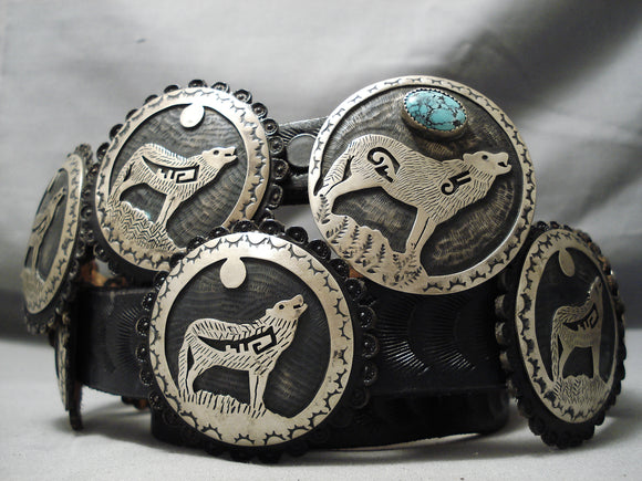 Very Important Vintage Native American Hopi John Honie Turquoise Sterling Silver Concho Belt Old