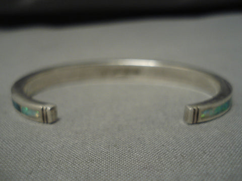 Important Vintage Native American Navajo Ray Tracey Sterling Silver Inlay Turquoise Bracelet