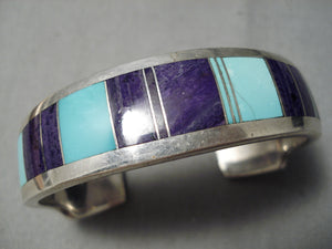 Important Vintage Native American Navajo Ray Tracey Turquoise Sugulite Sterling Silver Bracelet
