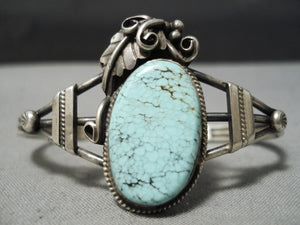Magnificent Detailed Vintage Native American Navajo Dry Creek Turquoise Sterling Silver Bracelet