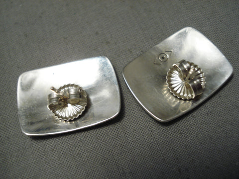 Important Hand Carved Navajo Peshlakai Sterling Silver Native American Earrings