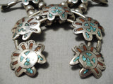 Intricate Vintage Native American Navajo Turquoise Coral Sterling Silver Squash Blossom Necklace