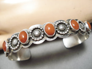 Wonderful Vintage Navajo Coral Sterling Silver Bracelet Native American