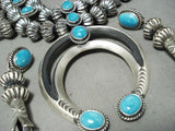 337 Gram Heavy Quality Native American Navajo Turquoise Sterling Silver Squash Blossom Necklace