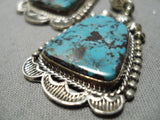 Museum Vintage Native American Navajo Basalt Turquoise Sterling Silver Squash Blossom Necklace