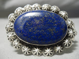 Quality Vintage Native American Navajo Domed Lapis Sterling Silver Repoussed Bracelet