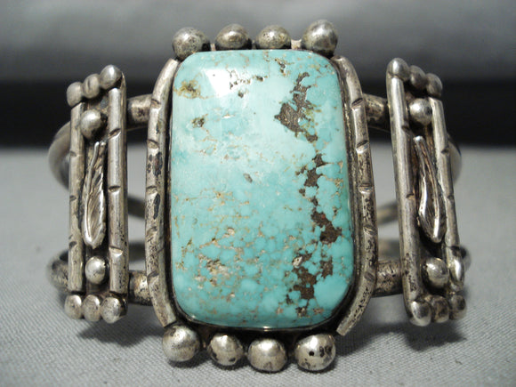 Very Unique Signed Vintage Native American Navajo Turquoise Sterling Silver Leaf Bracelet Old