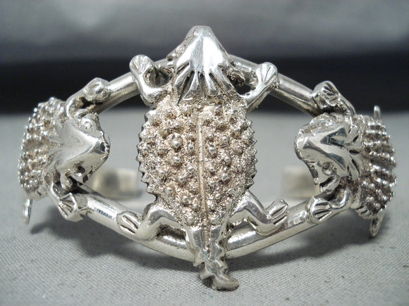 One Of The Most Detailed Native American Navajo Toad Sterling Silver Bracelet