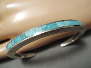 Thick Sturdy Vintage Native American Navajo Turquoise Inlay Sterling Silver Bracelet Old