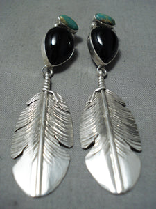 Astonishing Native American Navajo Royston Turquoise Black Onyx Sterling Silver Earrings
