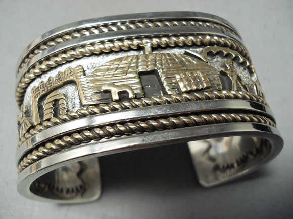 Important Native American Navajo Sterling Silver 12k Gold Storyteller Bracelet