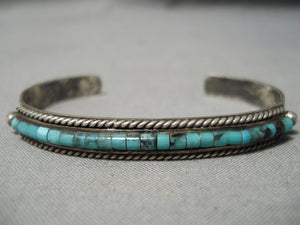 One Of The Best Vintage Native American Navajo Turquoise Heishi Sterling Silver Bracelet Old