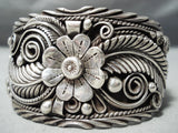 One Of The Most Detailed Leaf Garden Vintage Native American Navajo Sterling Silver Bracelet
