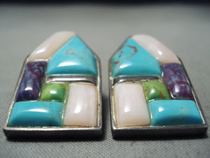 Native American Beautiful Vintage Zuni Turquoise Gaspeite Inlaid Sterling Silver Earrings