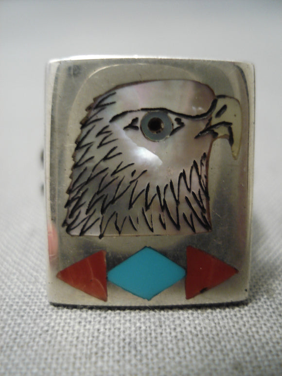 Exceptional Zuni Native American Turquoise Bird Coral Sterling Silver Ring