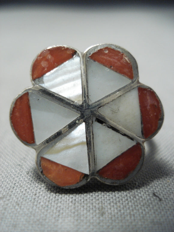 Fabulous Vintage Zuni Coral Sterling Silver Native American Ring Old