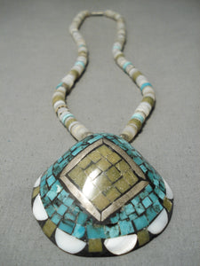 Native American Intricate!! Vintage Santo Domingo Turquoise Jade Sterling Silver Necklace