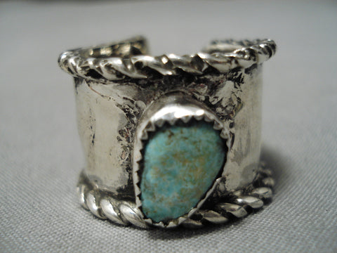 One Of The Oldest Vintage Native American Navajo Turquoise Sterling Silver Adjustable Ring