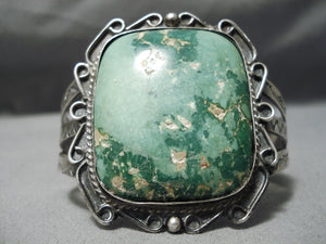 One Of The Best Ever Vintage Native American Navajo Cerrillos Turquoise Sterling Silver Bracelet