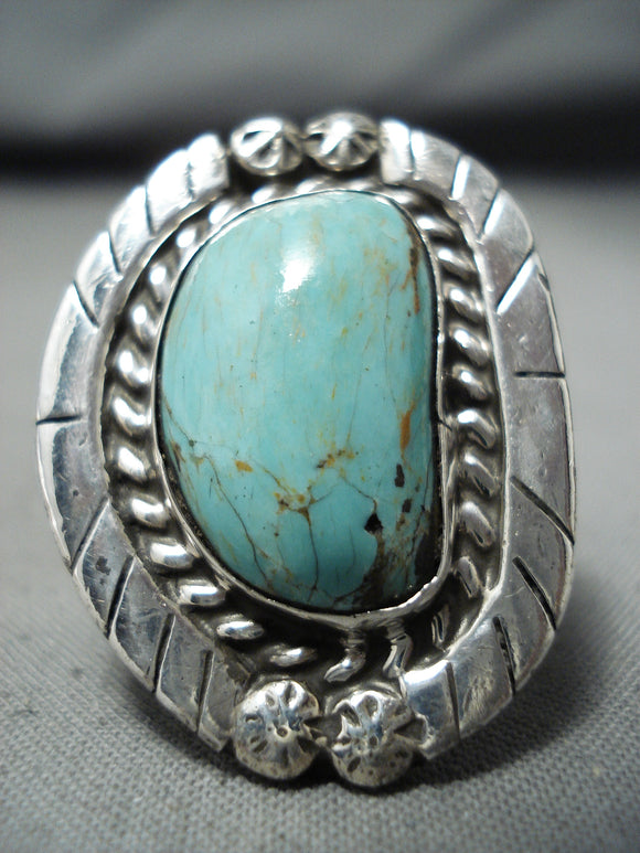 Marvelous Vintage Native American Navajo Kingman Turquoise Sterling Silver Ring Signed