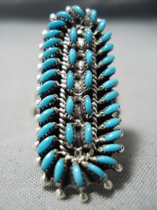 Expert Turquoise Work Vintage Zuni Native American Sterling Silver Ring