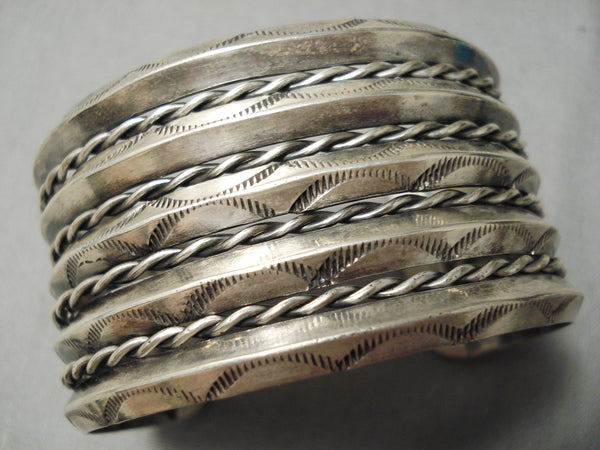 Hand Tooled Vintage Navajo Sterling Silver Native American Bracelet Old