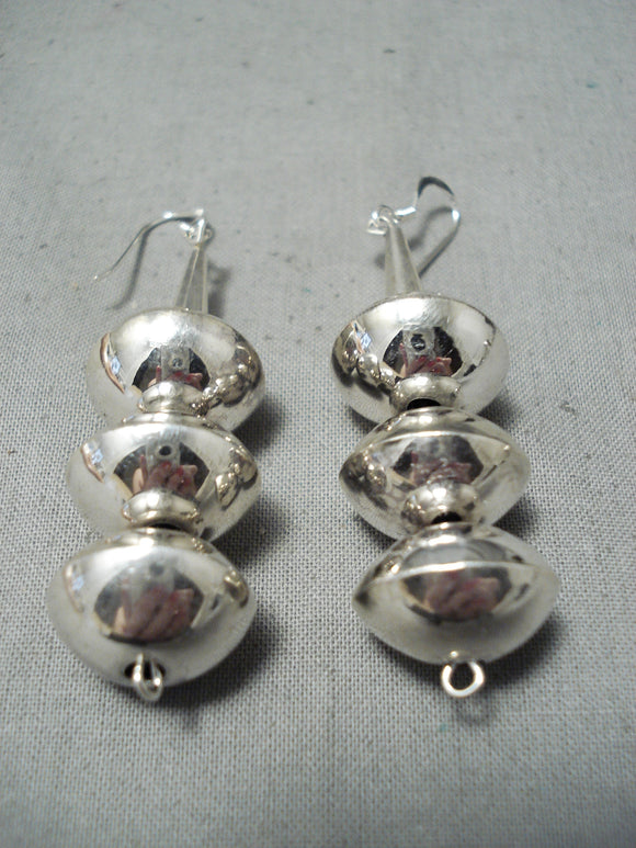 Huge Authentic Hand Tooled Native American Navajo Sterling Silver Bead Earrings