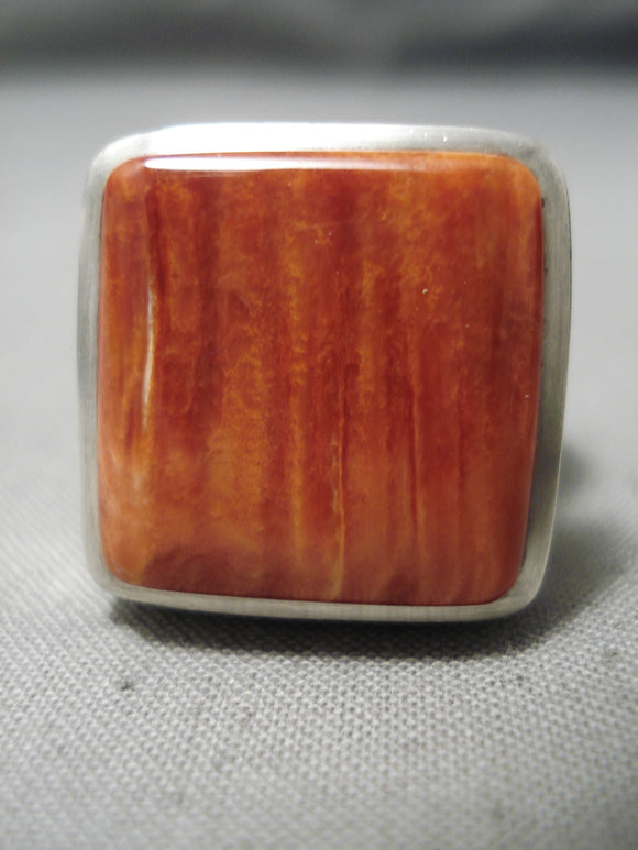 One Of The Best Native American Navajo Squared Spiny Shell Sterling Silver Heavy Ring
