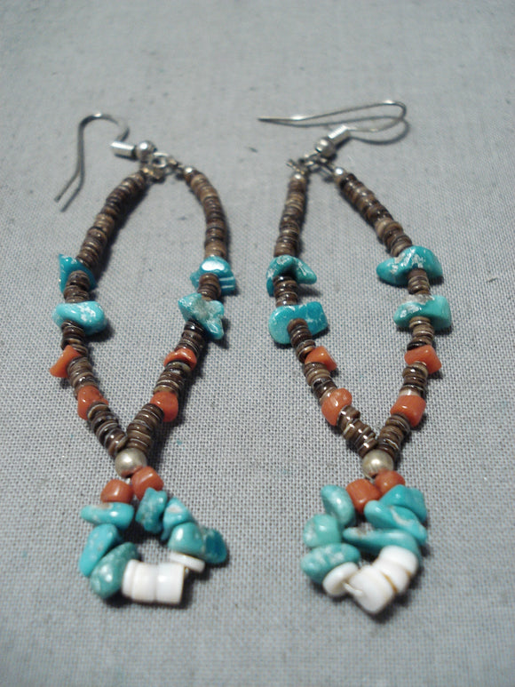 Spectacular Vintage Native American Navajo Turquoise Coral Shell Sterling Silver Earrings Old