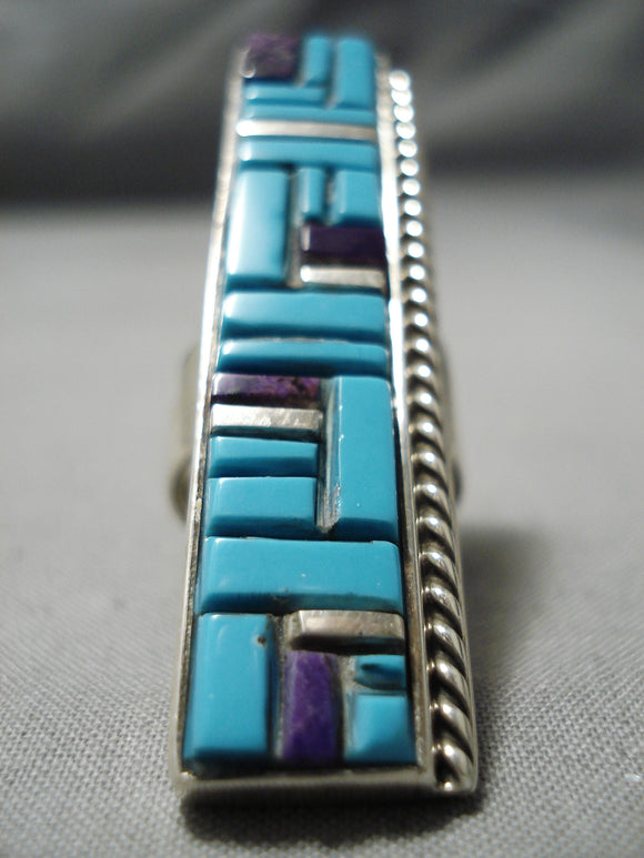 Towering Vintage Native American Navajo Turquoise Inlay Sterling Silver Mosaic Ring
