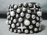 Remarkable Native American Navajo Mother Of Pearl Sterling Silver Crosses Huge Bracelet