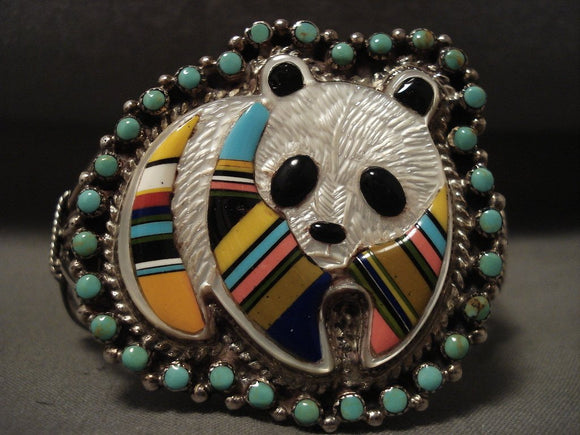 Absolutely Adorable Vintage Zuni/ Navajo 'Panda Bear' Turquoise Native American Jewelry Silver Bracelet-Nativo Arts