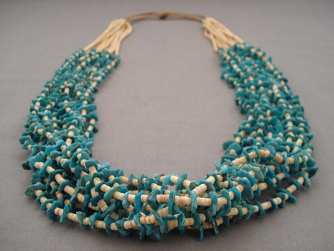 Absolutely Amazing Navajo Native American Jewelry jewelry 156 Grams Natural Blue Turquoise Heishi Necklace-Nativo Arts