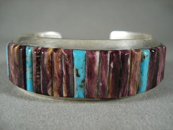 Absolutely Amazing Purple Spiny Oyster Native American Jewelry Silver Bracelet