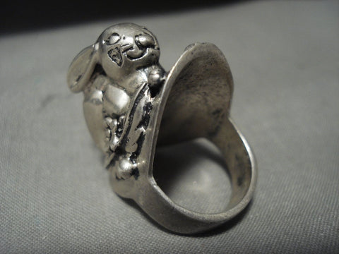 Absolutely Amazing Vintage Mexican/ Navajo Native American Jewelry Silver Rabbit Ring Old-Nativo Arts