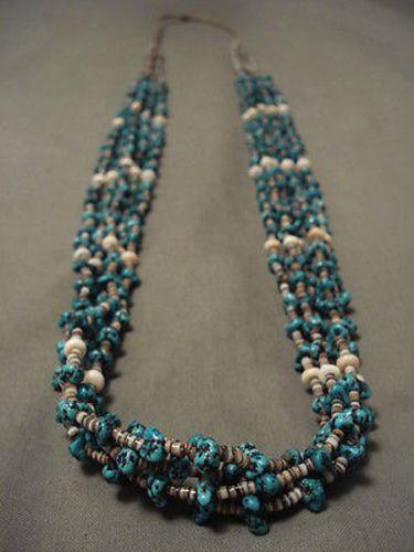 ABSOLUTELY AMAZING VINTAGE OLD SLEEPING BEAUTY TURQUOISE NECKLACE