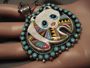 Absolutely Beautiful Vintage Zuni/ Navajo 'Panda Bear' Turquoise Native American Jewelry Silver Necklace-Nativo Arts