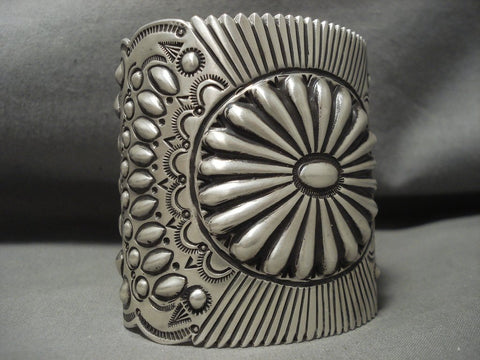 Absolutely Enormous Vintage Navajo ''repoussed Concho'' Native American Jewelry Silver Bracelet-Nativo Arts