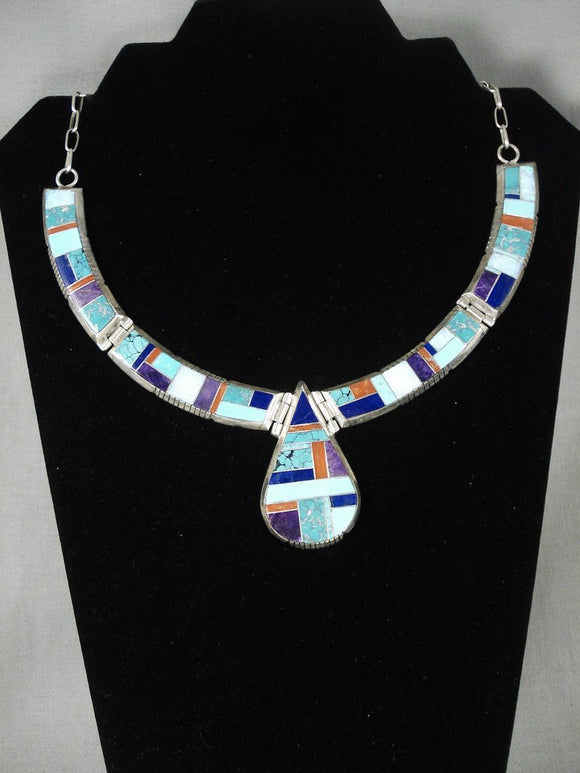Absolutely Fabulous 'Extreme Stone To Stone' Vintage Zuni Native American Jewelry Silver Necklace-Nativo Arts