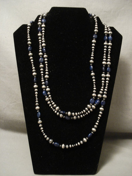 Absolutely Fabulous 'Long Wrap Around' Sterling Native American Jewelry Silver Lapis Necklace