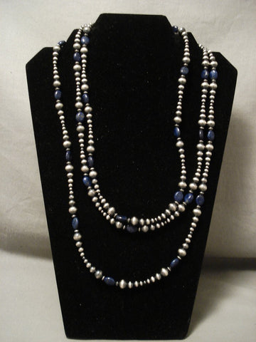 Absolutely Fabulous 'Long Wrap Around' Sterling Native American Jewelry Silver Lapis Necklace-Nativo Arts