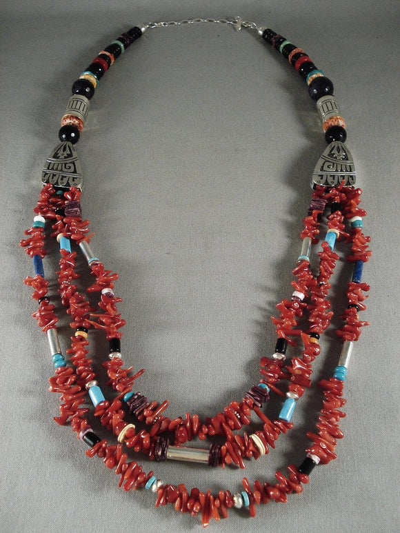 Absolutely Fabulous Modernistic Navajo Native American Jewelry Silver Coral Necklace-Nativo Arts