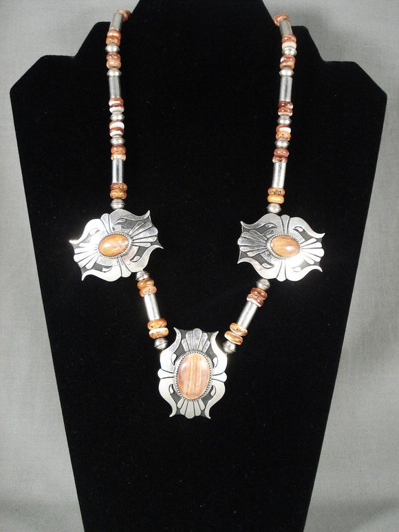 Absolutely Fabulous Vintage Navajo Spiny Shell Native American Jewelry Silver Necklace-Nativo Arts