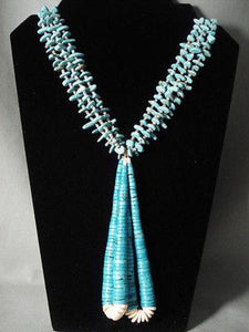 ABSOLUTELY FABULOUS VINTAGE NAVAJO TURQUOISE NECKLACE OLD-Nativo Arts