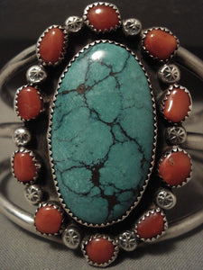 Absolutely Huge Vintage Navajo Green Spider Turquoise Native American Jewelry Silver Coral Bracelet-Nativo Arts