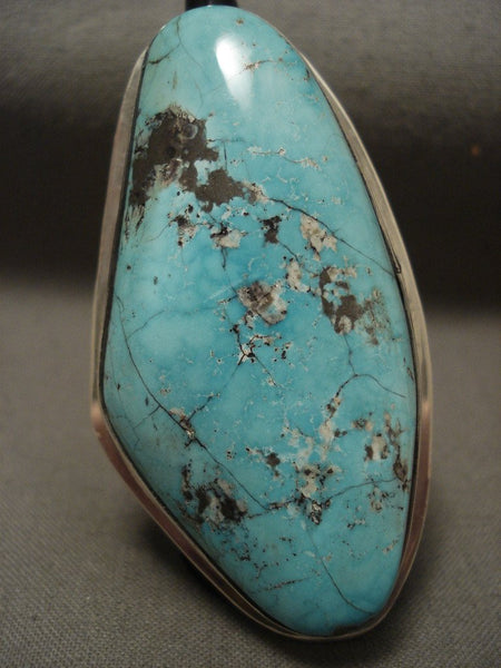 Absolutely Huge Vintage Navajo Natural Carlin Turquoise Native American Jewelry Silver Ring Old