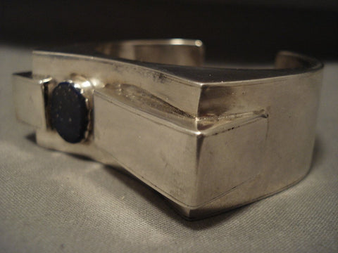 Absolutely Incredible Advanced Native American Jewelry Silver Work Lapis Native American Jewelry Silver Bracelet-Nativo Arts